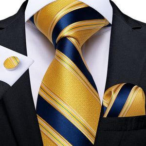 Yellow Blue Striped  Men's Tie Handkerchief Cufflinks Set (4301106839633)
