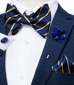 Blue Yellow Striped Self-Bowtie Pocket Square Cufflinks Set With Brooch