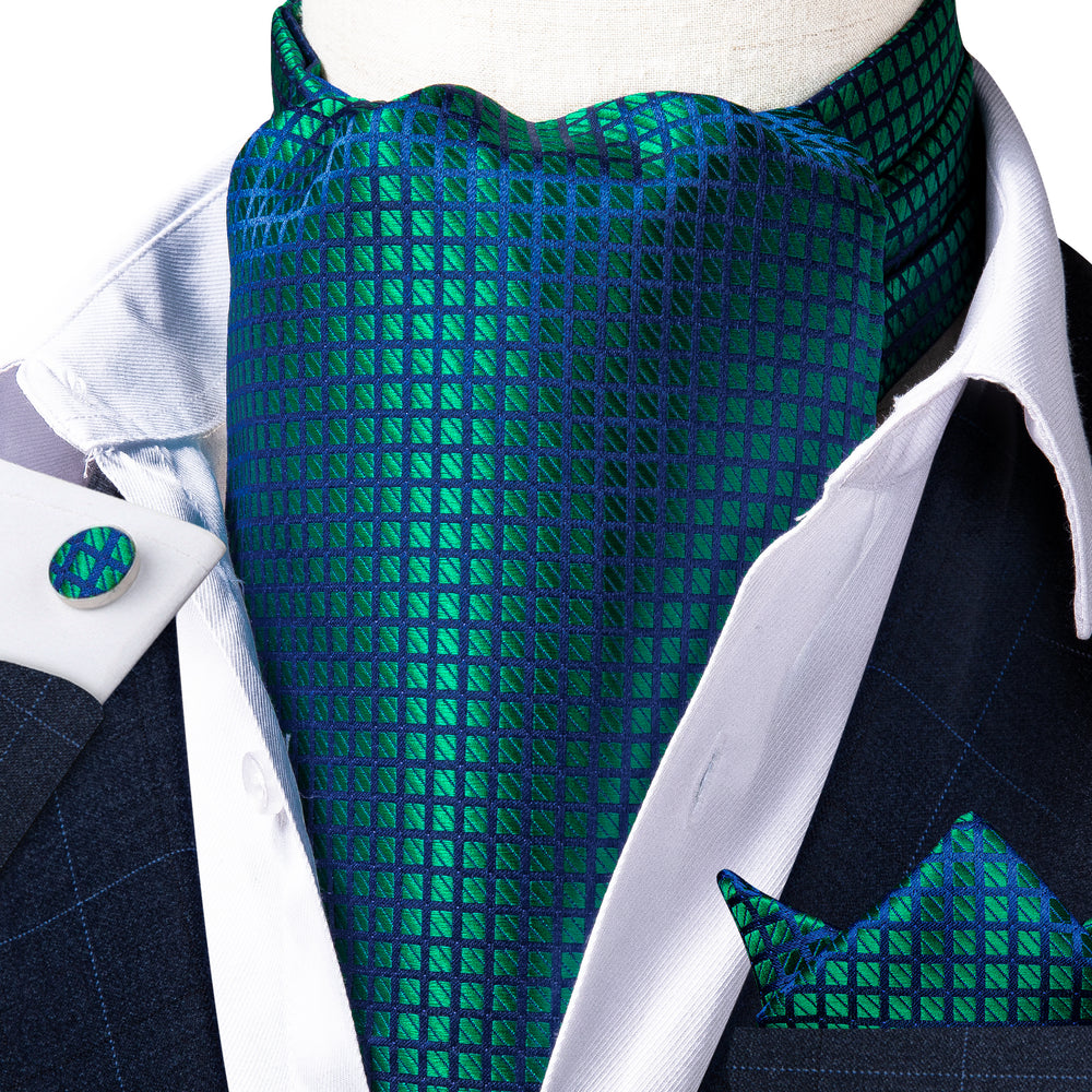 Teal Plaid Silk Cravat Woven Ascot Tie Pocket Square Handkerchief Suit Set (4540669198417)