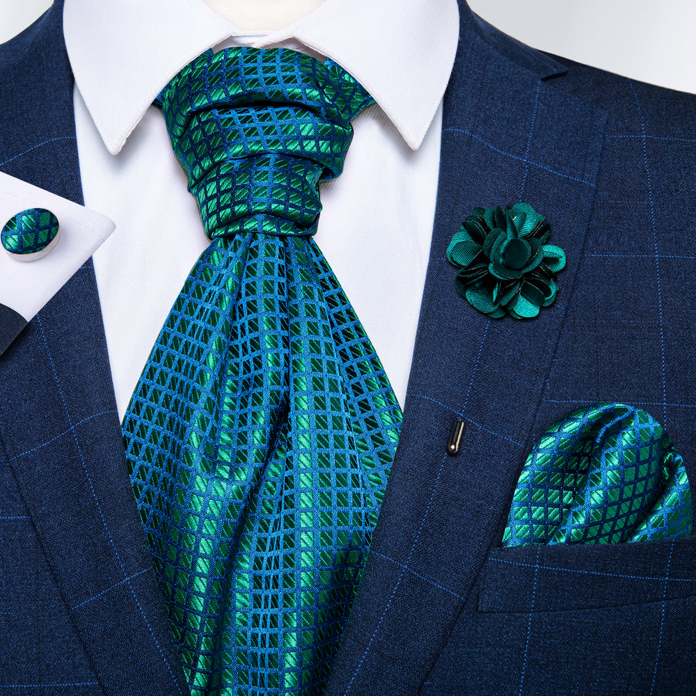 Teal Plaid Silk Cravat Woven Ascot Tie Pocket Square Handkerchief Suit with Lapel Pin Brooch Set