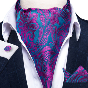 Load image into Gallery viewer, Purple Paisley Silk Cravat Ascot Tie Ring Pocket Square Cufflinks Set