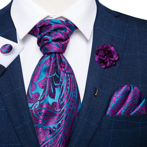 Load image into Gallery viewer, Purple Paisley Silk Cravat Woven Ascot Tie Pocket Square Handkerchief Suit with Lapel Pin Brooch Set