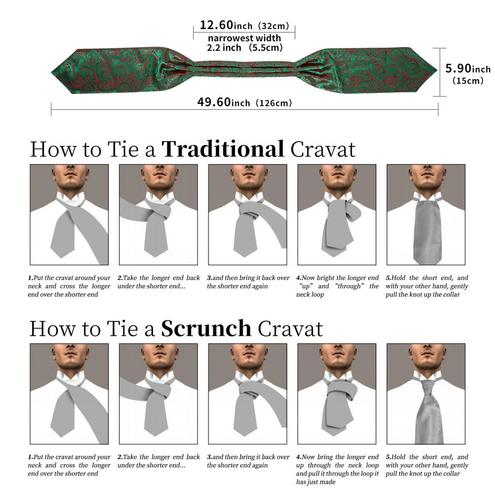 Green Red Paisley Silk Cravat Woven Ascot Tie Pocket Square Handkerchief Suit Set (4540670476369)