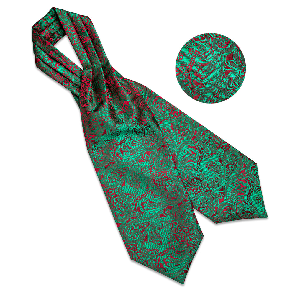 Green Red Paisley Silk Cravat Woven Ascot Tie Pocket Square Handkerchief Suit Set