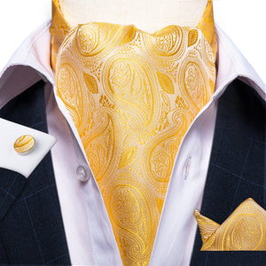 Gold Paisley Silk Cravat Woven Ascot Tie Pocket Square Handkerchief Suit Set (4540670705745)