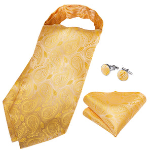 Load image into Gallery viewer, Gold Paisley Silk Cravat Woven Ascot Tie Pocket Square Handkerchief Suit Set (4540670705745)