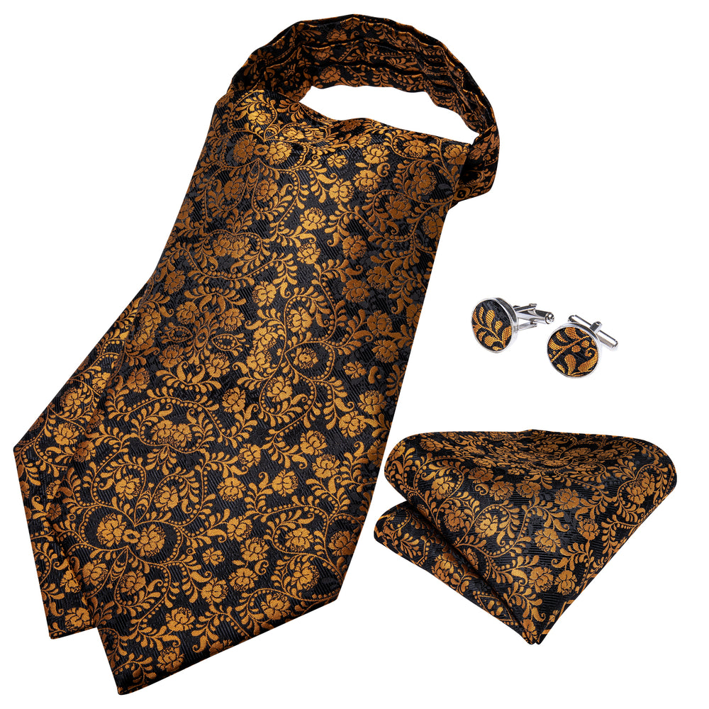 Brown Black Floral  Silk Cravat Woven Ascot Tie Pocket Square Handkerchief Suit Set (4540671230033)