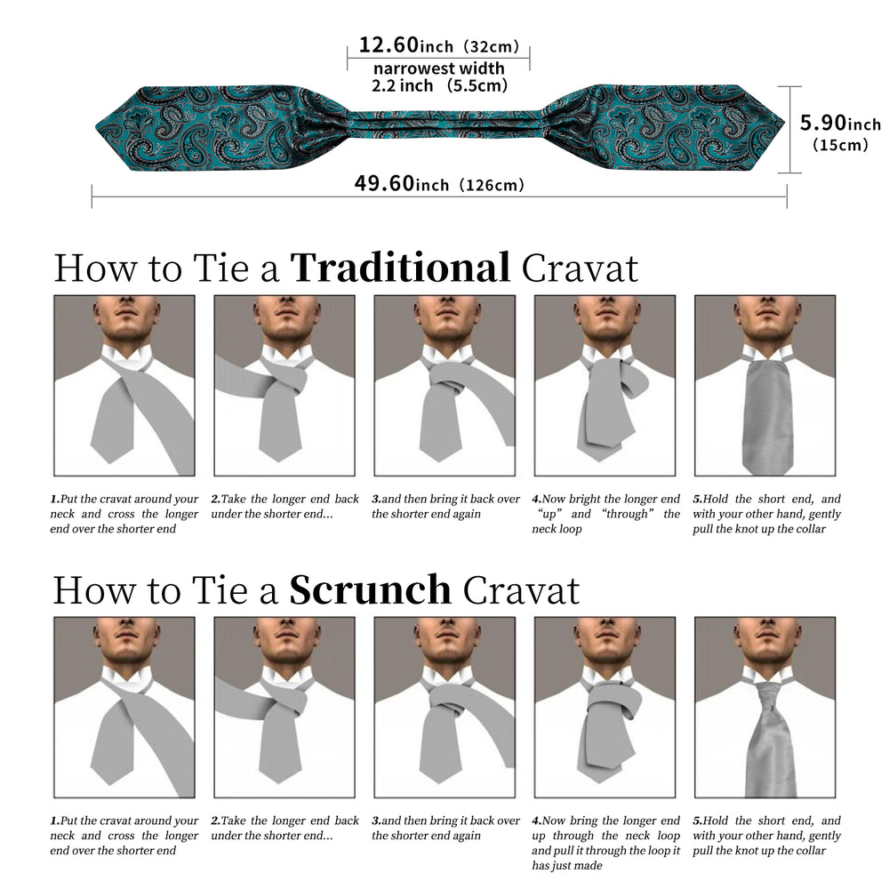 Teal  Black Floral  Silk Cravat Woven Ascot Tie Pocket Square Handkerchief Suit Set (4540672114769)