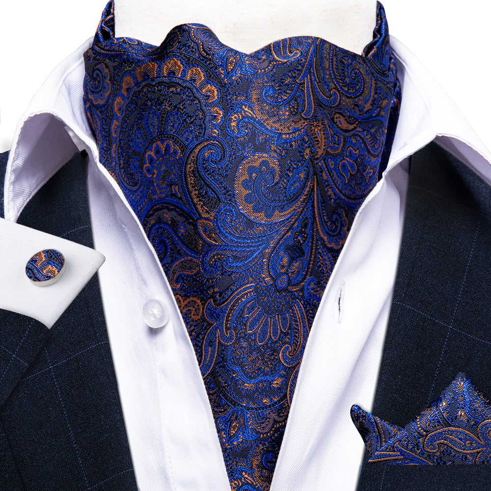 Blue Paisley Silk Cravat Woven Ascot Tie Pocket Square Handkerchief Suit Set (4540685877329)