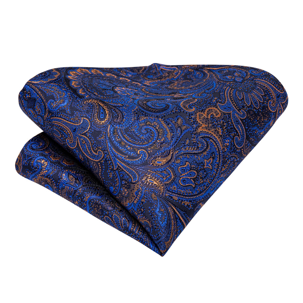 Load image into Gallery viewer, Blue Paisley Silk Cravat Woven Ascot Tie Pocket Square Handkerchief Suit Set (4540685877329)