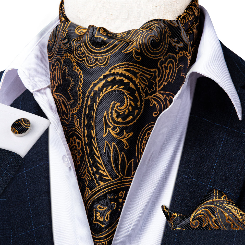 Brown Black Paisley Silk Cravat Woven Ascot Tie Pocket Square Handkerchief Suit Set