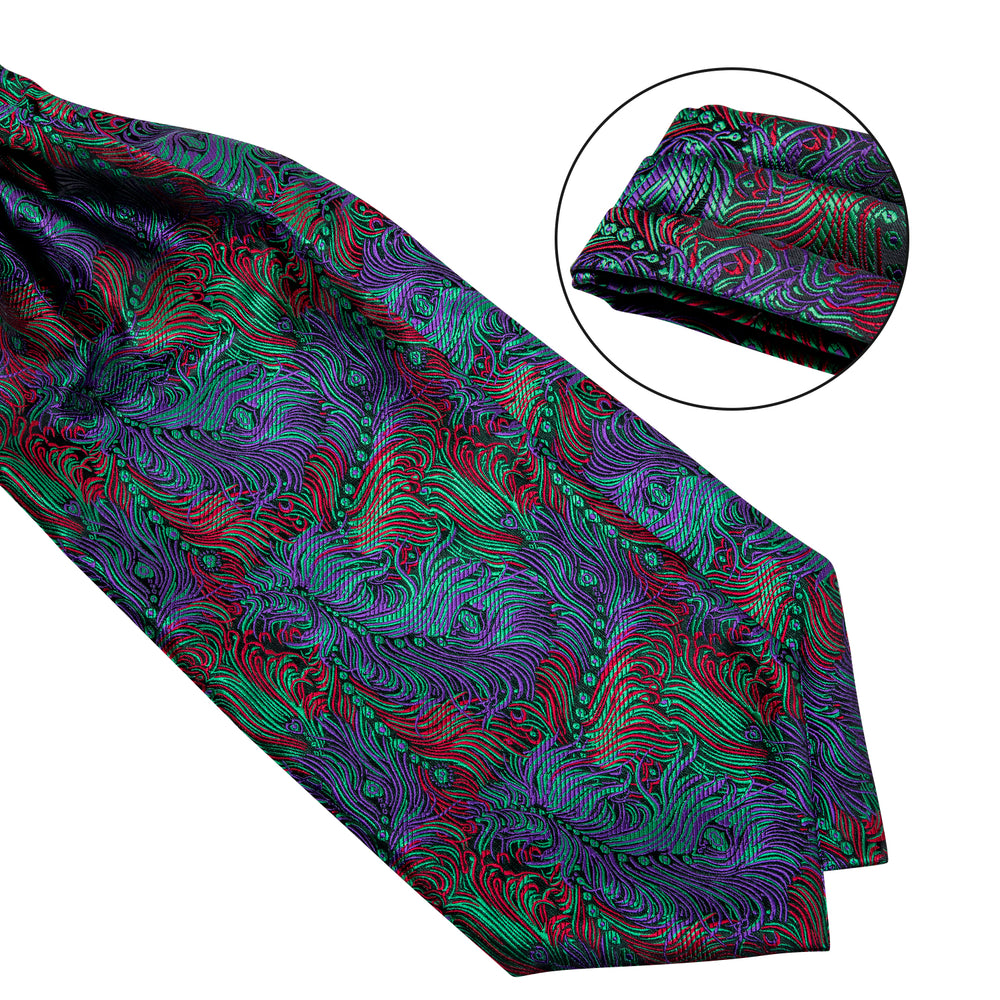 Load image into Gallery viewer, Blue Green  Paisley Silk Cravat Woven Ascot Tie Pocket Square Handkerchief Suit Set (4540701114449)