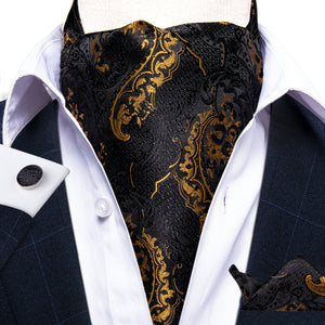Load image into Gallery viewer, New Black Golden Floral Paisley silk Cravat Woven Ascot Tie Pocket Square Handkerchief Suit Set (4602490585169)