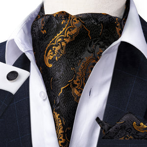 New Black Golden Floral Paisley silk Cravat Woven Ascot Tie Pocket Square Handkerchief Suit Set (4602490585169)