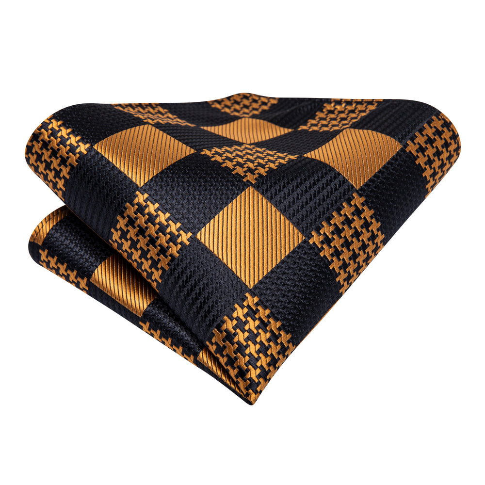Load image into Gallery viewer, New Brown Black Plaid Silk Cravat Woven Ascot Tie Pocket Square Handkerchief Suit Set (4602497531985)