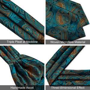 Load image into Gallery viewer, New Turquoise Floral Paisley silk Cravat Woven Ascot Tie Pocket Square Handkerchief Suit Set