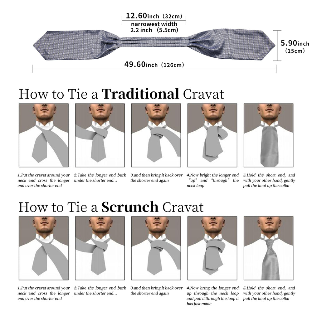 New Silver Gray Solid Silk Cravat Woven Ascot Tie Pocket Square Handkerchief Suit Set