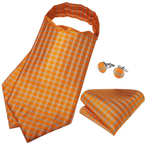 Load image into Gallery viewer, Orange Plaid Silk Cravat Woven Ascot Tie Pocket Square Cufflinks With Tie Ring Set