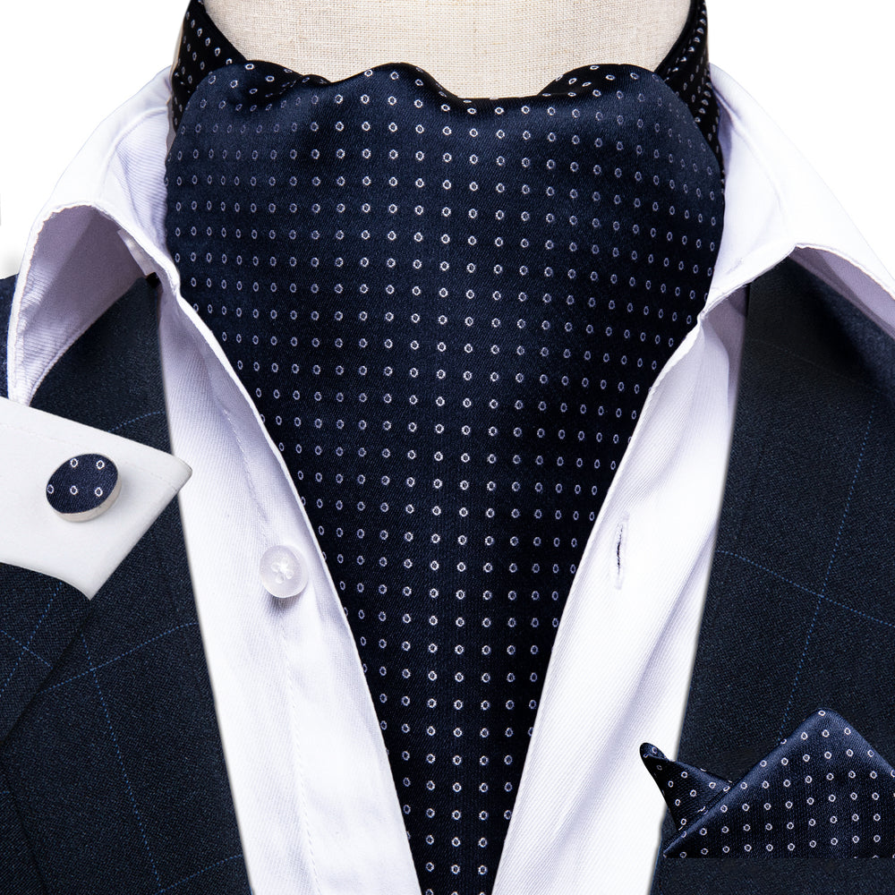 Blue White Dots Silk Cravat Woven Ascot Tie Pocket Square Cufflinks with Tie Ring Set (4667813101649)
