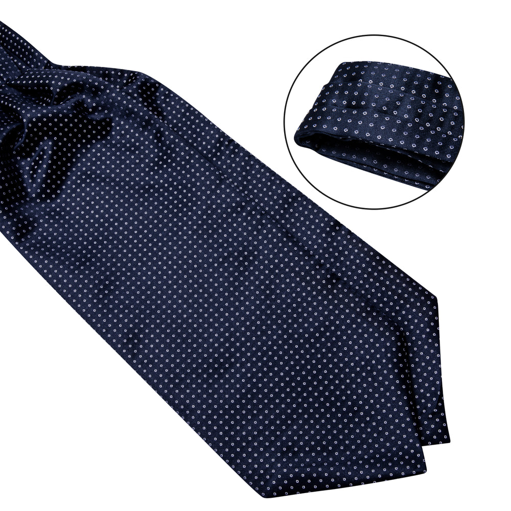 Blue and White Dots Silk Cravat Ascot Tie Ring Pocket Square Cufflinks Set