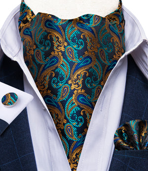 Load image into Gallery viewer, New Blue Brown Paisley silk Cravat Woven Ascot Tie Pocket Square Handkerchief Suit Set