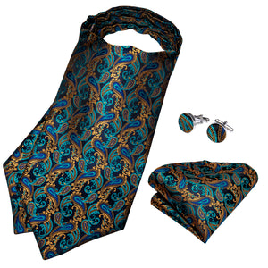 Blue Brown Paisley silk Cravat Woven Ascot Tie Pocket Square Cufflinks With Tie Ring Set (4667703689297)