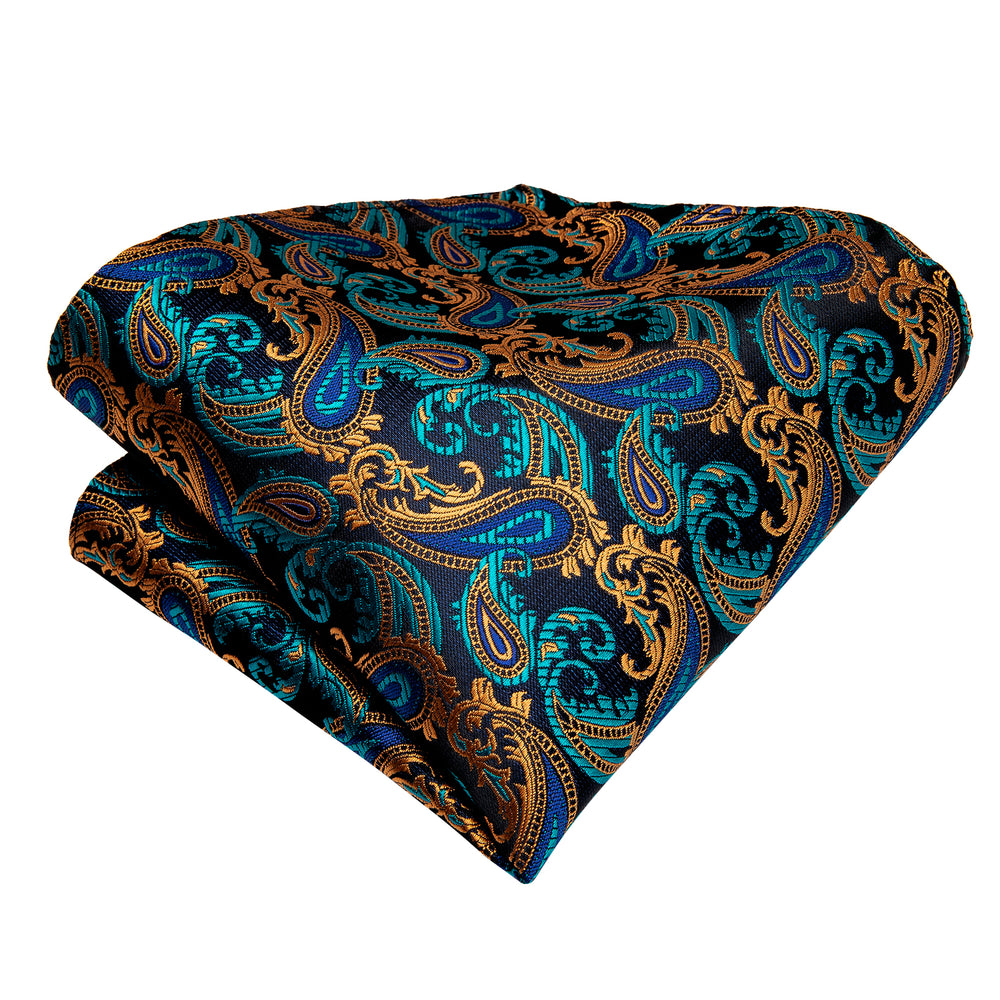 Load image into Gallery viewer, Blue Brown Paisley silk Cravat Woven Ascot Tie Pocket Square Cufflinks With Tie Ring Set (4667703689297)