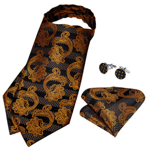 Black Golden Floral Silk Cravat Woven Ascot Tie Pocket Square Cufflinks With Tie Ring Set (4667814641745)