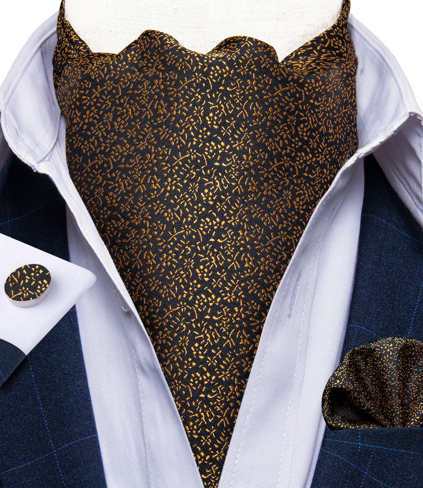New Golden Floral Silk Cravat Woven Ascot Tie Pocket Square Handkerchief Suit Set