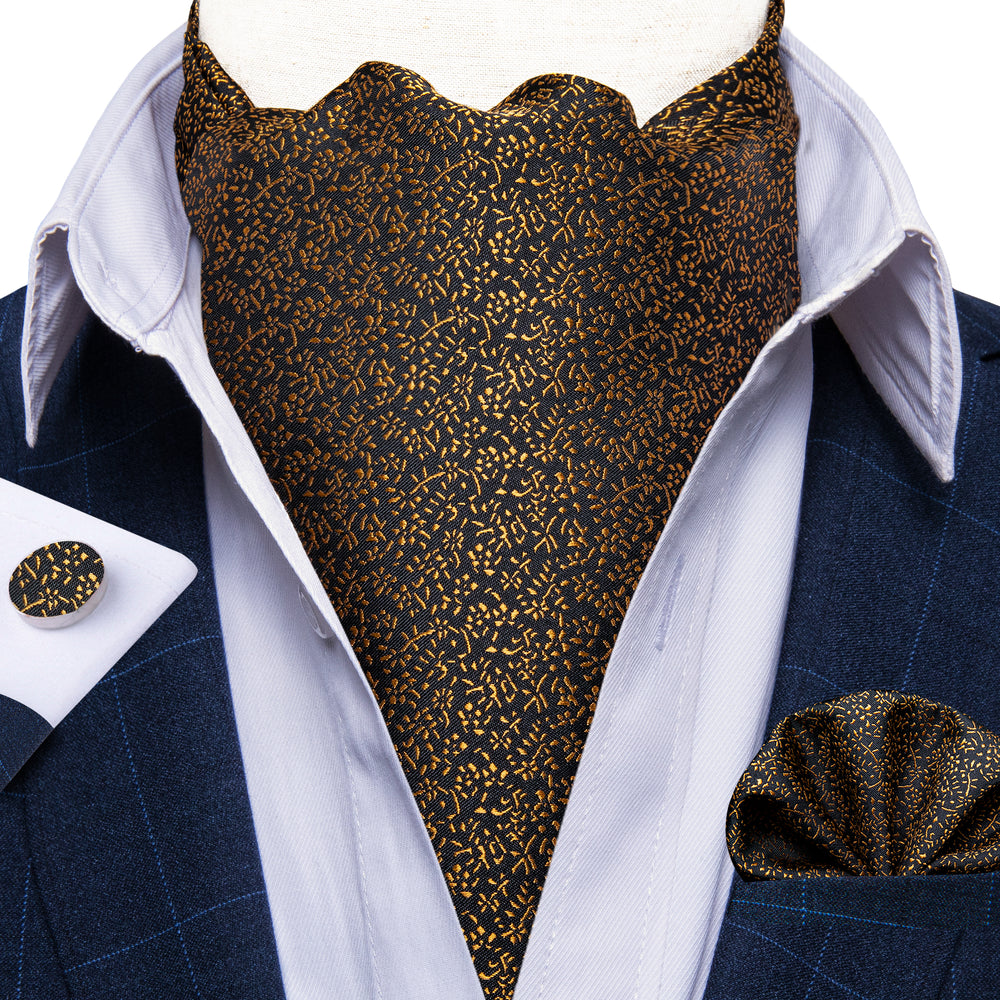 Load image into Gallery viewer, Golden Floral Silk Cravat Ascot Tie Ring Pocket Square Cufflinks Set