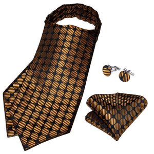 Brown Dot Solid Silk Cravat Woven Ascot Tie Pocket Square Cufflinks With Tie Ring Set (4667735474257)