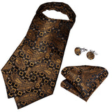 New Black Brown Paisly Silk Cravat Woven Ascot Tie Pocket Square Handkerchief Suit Set