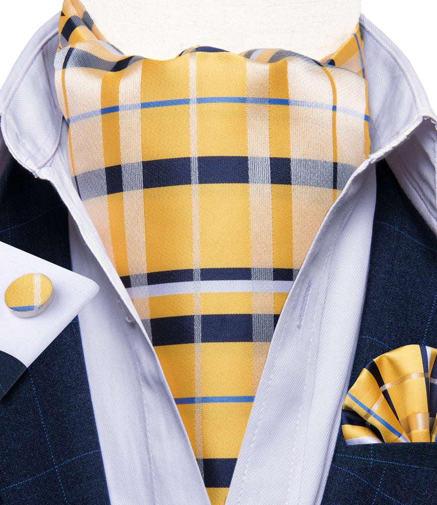 Load image into Gallery viewer, New Yellow Blue Striped Silk Cravat Woven Ascot Tie Pocket Square Handkerchief Suit Set