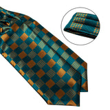 New Turquoise Brown Plaid Silk Cravat Woven Ascot Tie Pocket Square Handkerchief Suit Set
