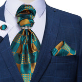 Turquoise Brown Plaid Silk Cravat Ascot Tie Ring Pocket Square Cufflinks Set