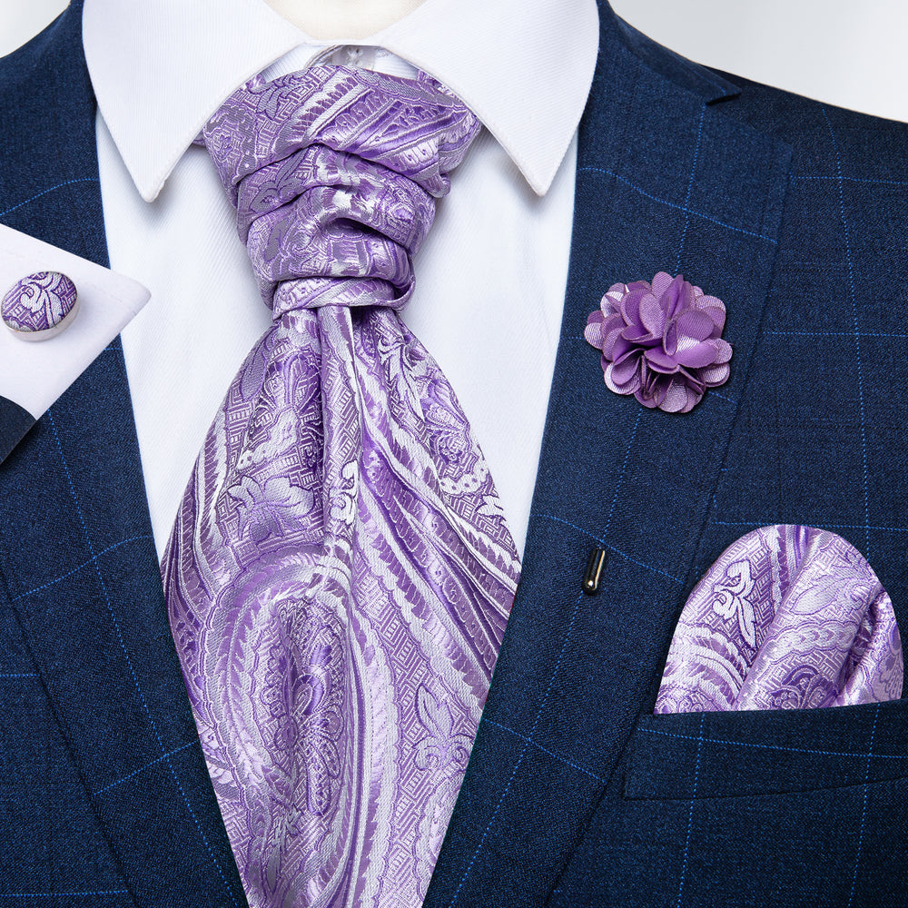 Purple Floral Paisley Silk Cravat Woven Ascot Tie Pocket Square Handkerchief Suit with Lapel Pin Brooch Set