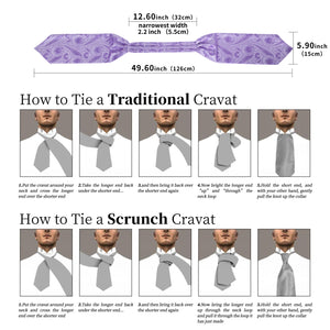 New Purple Floral Paisley Silk Cravat Woven Ascot Tie Pocket Square Handkerchief Suit Set