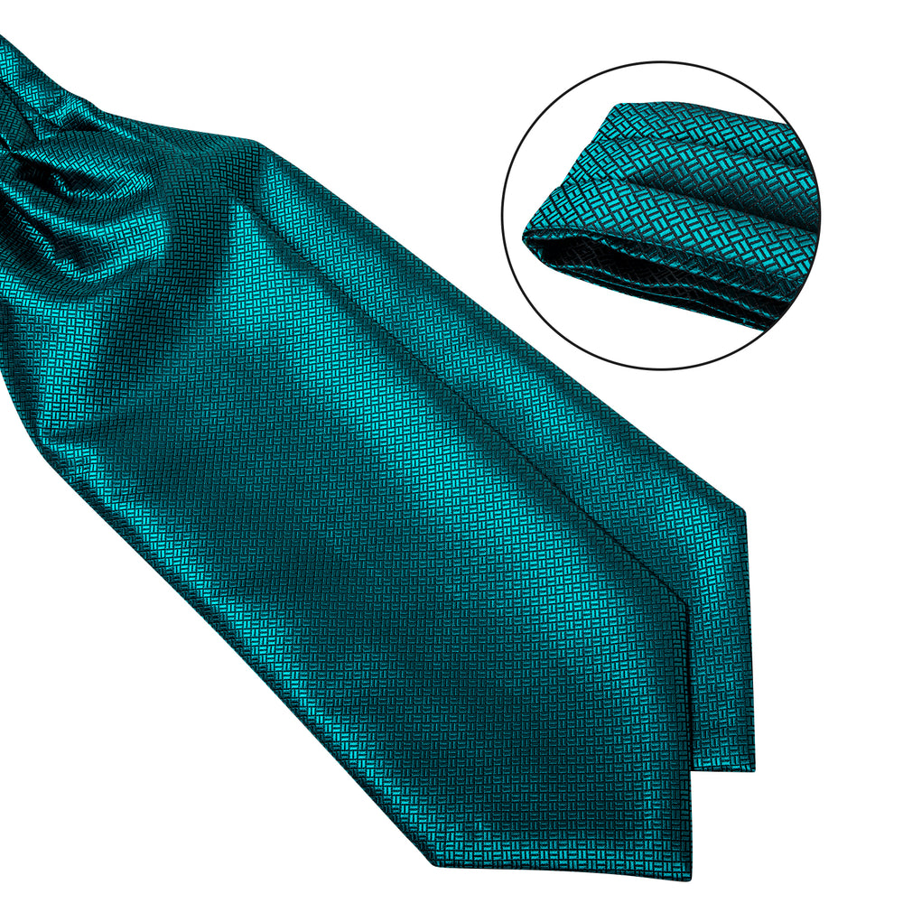 New Turquoise Solid Silk Cravat Woven Ascot Tie Pocket Square Handkerchief Suit Set (4602639843409)
