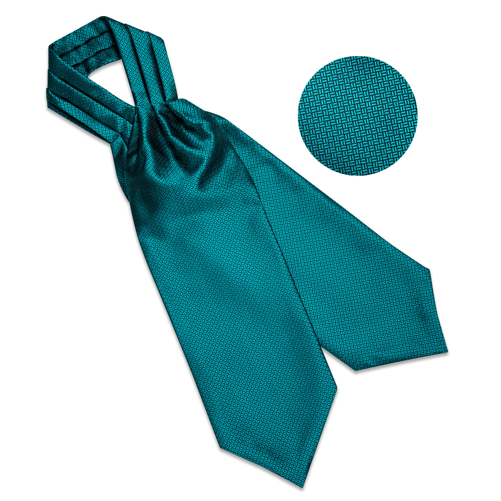 New Turquoise Solid Silk Cravat Woven Ascot Tie Pocket Square Handkerchief Suit Set