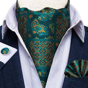 New Turquoise Paisley Silk Cravat Woven Ascot Tie Pocket Square Handkerchief Suit Set