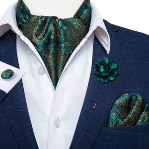 Turquoise Paisley Silk Cravat Woven Ascot Tie Pocket Square Handkerchief Suit with Lapel Pin Brooch Set