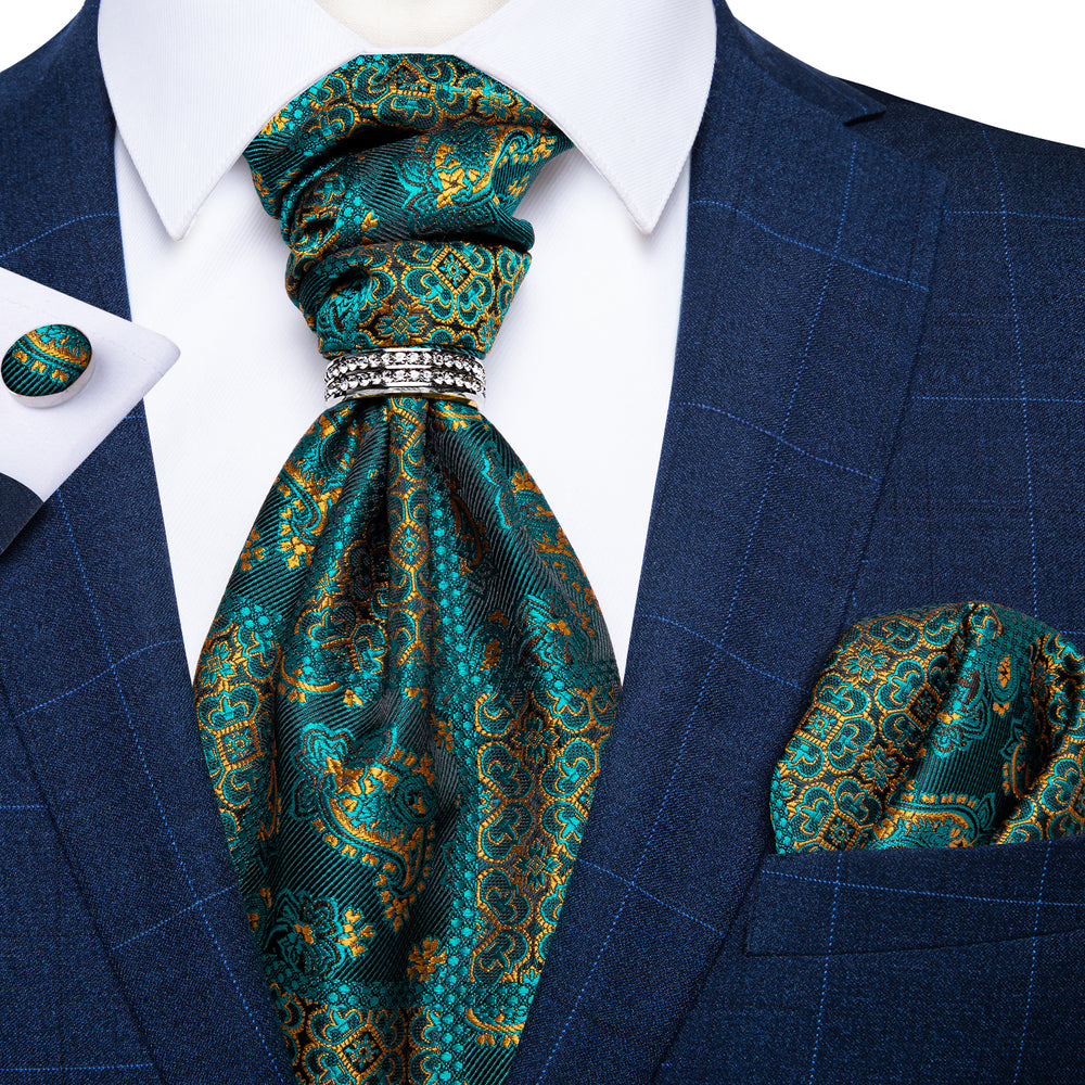 New Turquoise Paisley Silk Cravat Woven Ascot Tie Pocket Square Cufflinks With Tie Ring Set