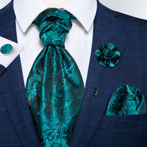 Dark Turquoise Floral Silk Cravat Woven Ascot Tie Pocket Square Handkerchief Suit with Lapel Pin Brooch Set