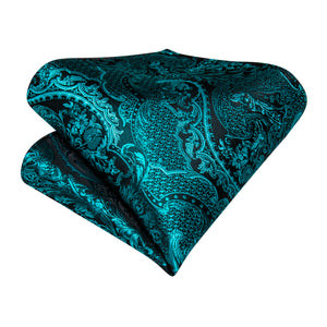 Load image into Gallery viewer, New Dark Turquoise Floral Silk Cravat Woven Ascot Tie Pocket Square Handkerchief Suit Set