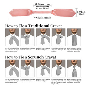New Pink Solid Silk Cravat Woven Ascot Tie Pocket Square Handkerchief Suit Set (4602648100945)