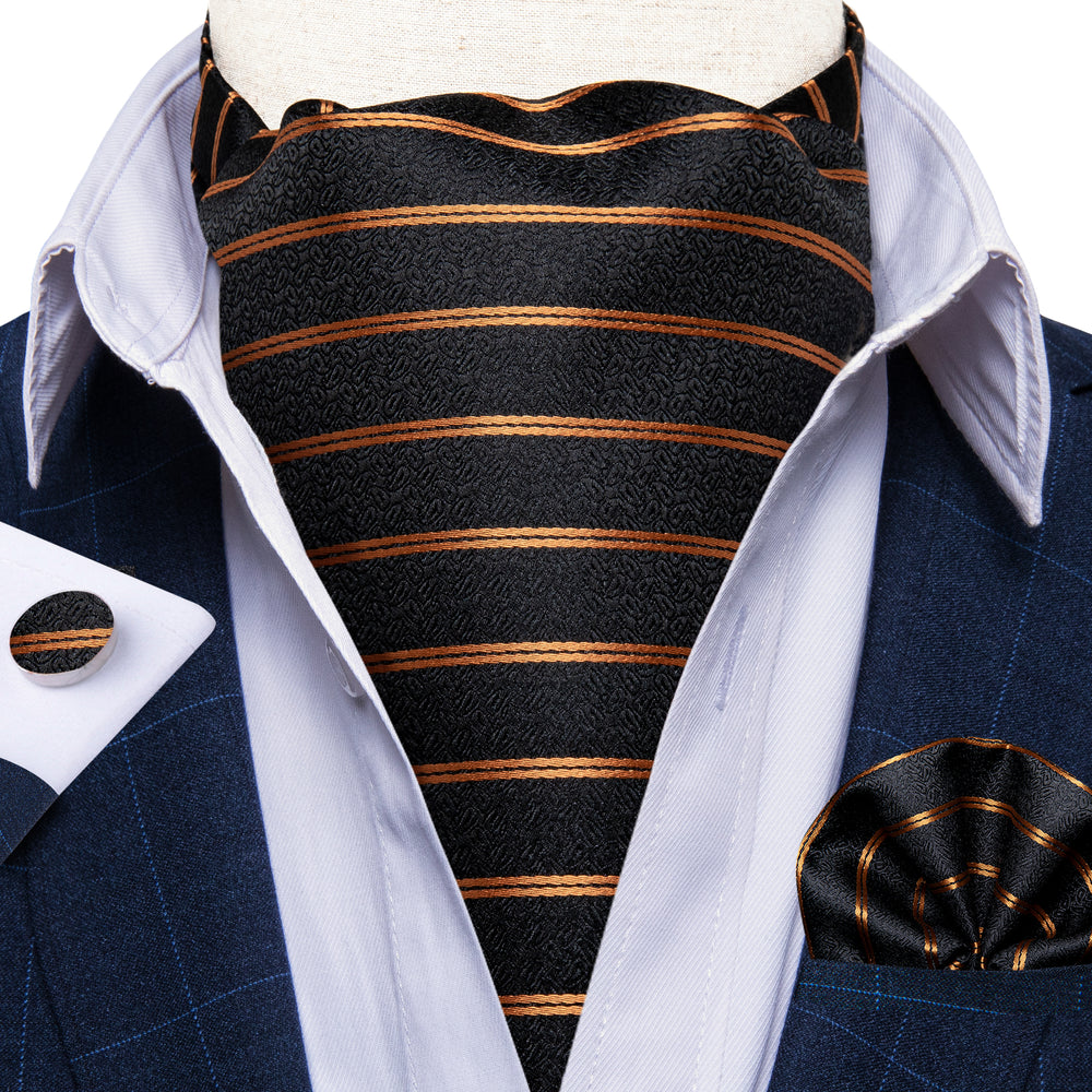 Load image into Gallery viewer, New Gold Black Striped Silk Cravat Woven Ascot Tie Pocket Square Handkerchief Suit Set (4602649968721)