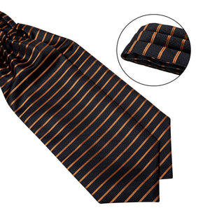 Gold Black Striped Silk Cravat Woven Ascot Tie Pocket Square Cufflinks With Tie Ring Set (4667821162577)