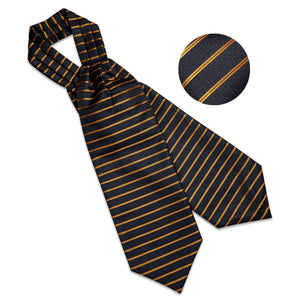 Load image into Gallery viewer, New Gold Black Striped Silk Cravat Woven Ascot Tie Pocket Square Handkerchief Suit Set