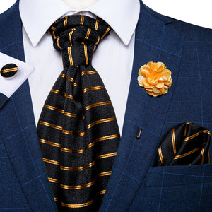 Black Gold Striped Silk Cravat Woven Ascot Tie Pocket Square Handkerchief Suit with Lapel Pin Brooch Set