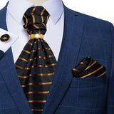 Gold Black Striped Silk Cravat Ascot Tie Ring Pocket Square Cufflinks Set